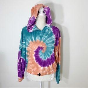 ❗️FOREVER 21 tie dye hoodie cropped sweatshirt